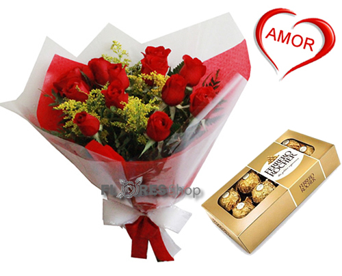 1614 Buque 12 rosas com Chocolate