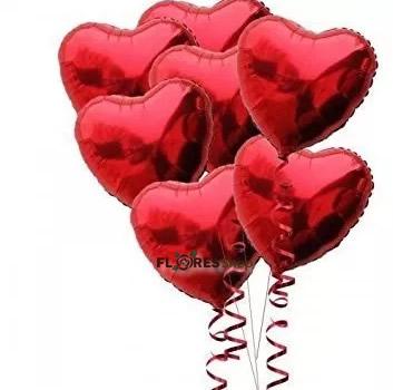 2083 5 Balões de Corações  Metalizados