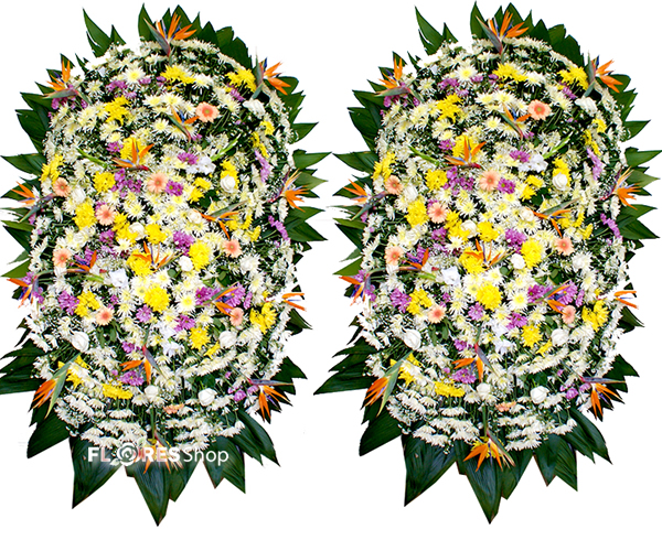 2102 Combo 2 Coroas Grandes com flores mistas