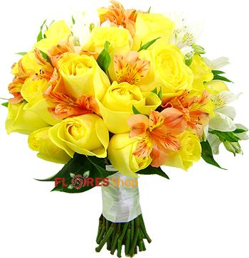 2379  Buquê de Noiva Rosas Amarelas
