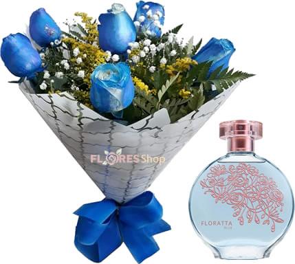 2589 Buquê Rosas Azuis e Floratta Blue