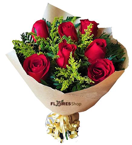 3872 Buquê com 7 rosas Kraft