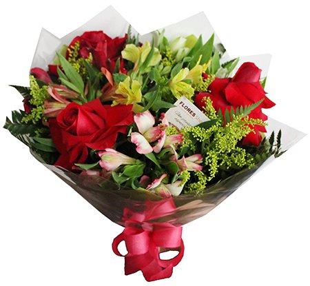 429 Buque 3 rosas e Alstromélias