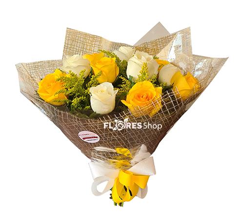4510 Buquê Rosas Brancas e Amarelas