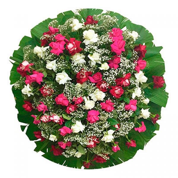 2198 Coroa de flores Branca e Pink