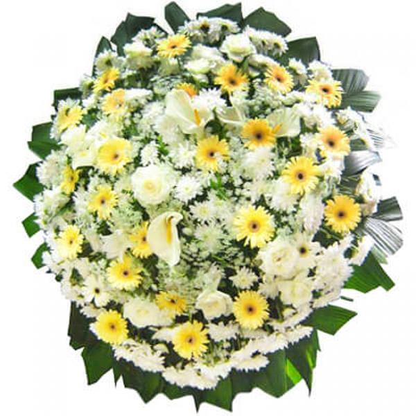 2202 Coroa de flores Branca e Amarela