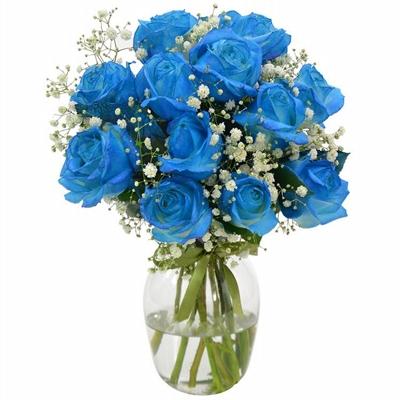 65 Buquê de Rosas Azul no Vaso