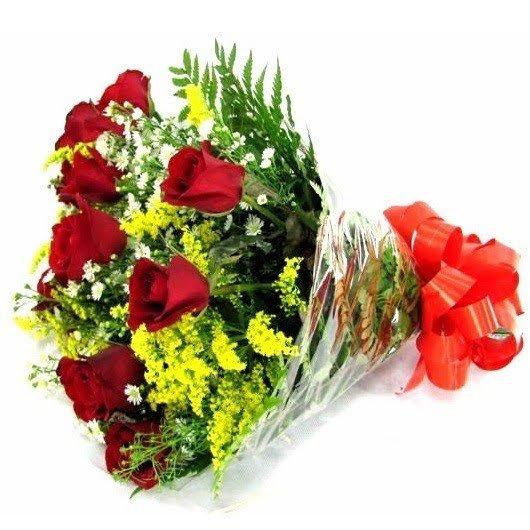 482 Buquê de 12 Rosas Vermelhas