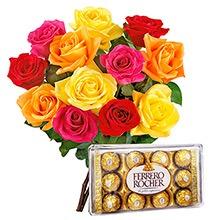 520 12 Lindas Rosas Coloridas com Ferrero Rocher