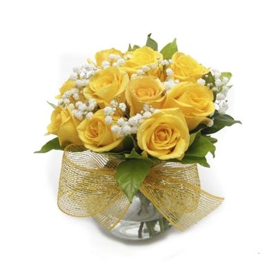 653 Arranjo De Rosas Amarelas No Vaso de Vidro