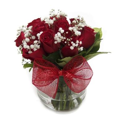 654 Arranjo De Rosas Vermelhas No Vaso de Vidro