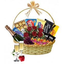 678 Cesta de Chocolates Com Champanhe Meu Amor