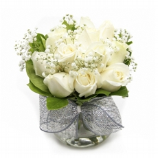 684 Arranjo De Rosas Brancas No Vaso de Vidro