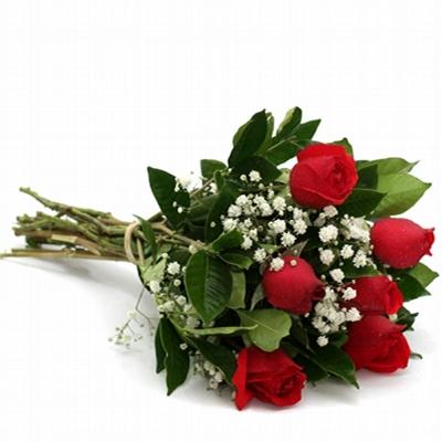 696  Buquê de Rosa 6 Vermelhas