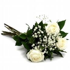 708 Buquê de 3 Rosas Branca