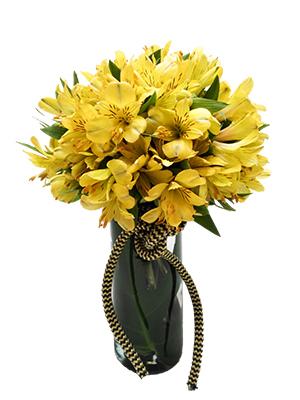 1031 Arranjo de Alstroemérias Amarelas em Vaso Cilíndrico de Vidro.