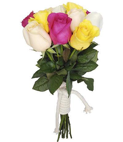 1738 Buquê de 12 Rosas Coloridas