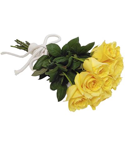 1766 Buquê de 12 Rosas Amarelas e finalização em Corda de Algodão Cru