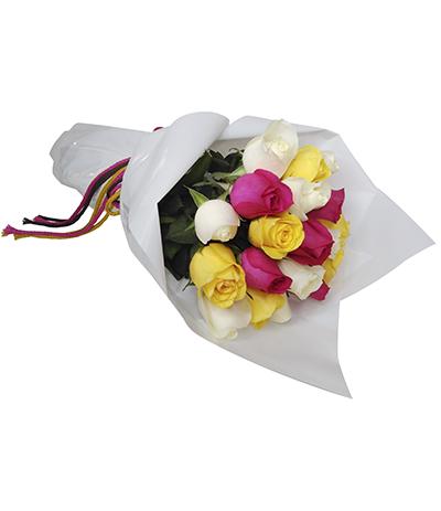 1768 Buquê de 20 Rosas Coloridas.