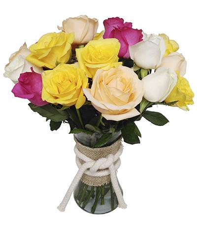 1770 Arranjo de 30 Rosas Coloridas