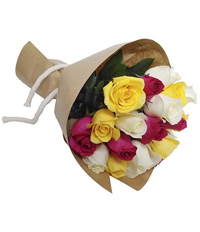 1995 Buquê de 20 Rosas Coloridas envoltas em Papel Kraft