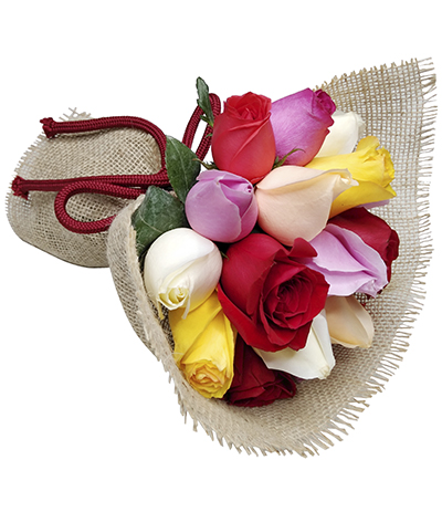2296 Buquê de 15 Rosas Coloridas envoltas em Juta