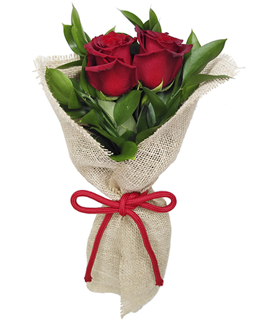2445 Buquê com 2 Rosas Vermelhas Importadas envoltas em Juta