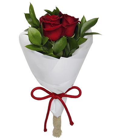 2446 Buquê com 2 Rosas Vermelhass Importada envoltas em Celofane Branco