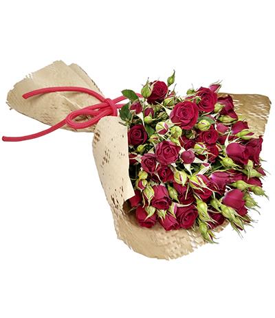 2608 Buquê de Mini Rosas Vermelhas Embalagem Kraft