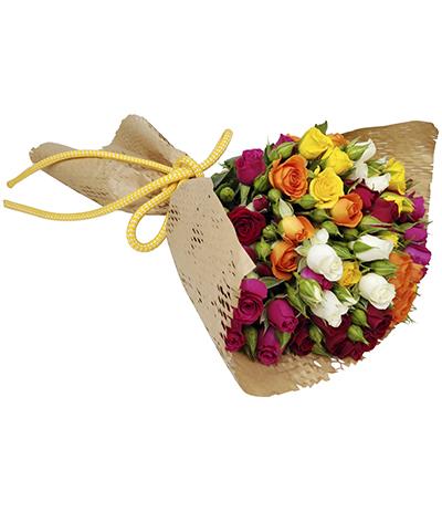 2609 Buquê de Mini Rosas Coloridas Embalagem Kraft