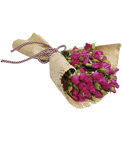 2613 Buquê de Mini Rosas Pinks Embalagem Kraft