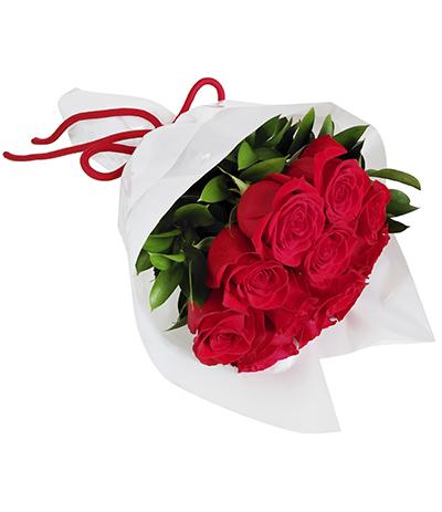 2621 Buquê de 12 Rosas Vermelhas Importadas em Celofane Branco